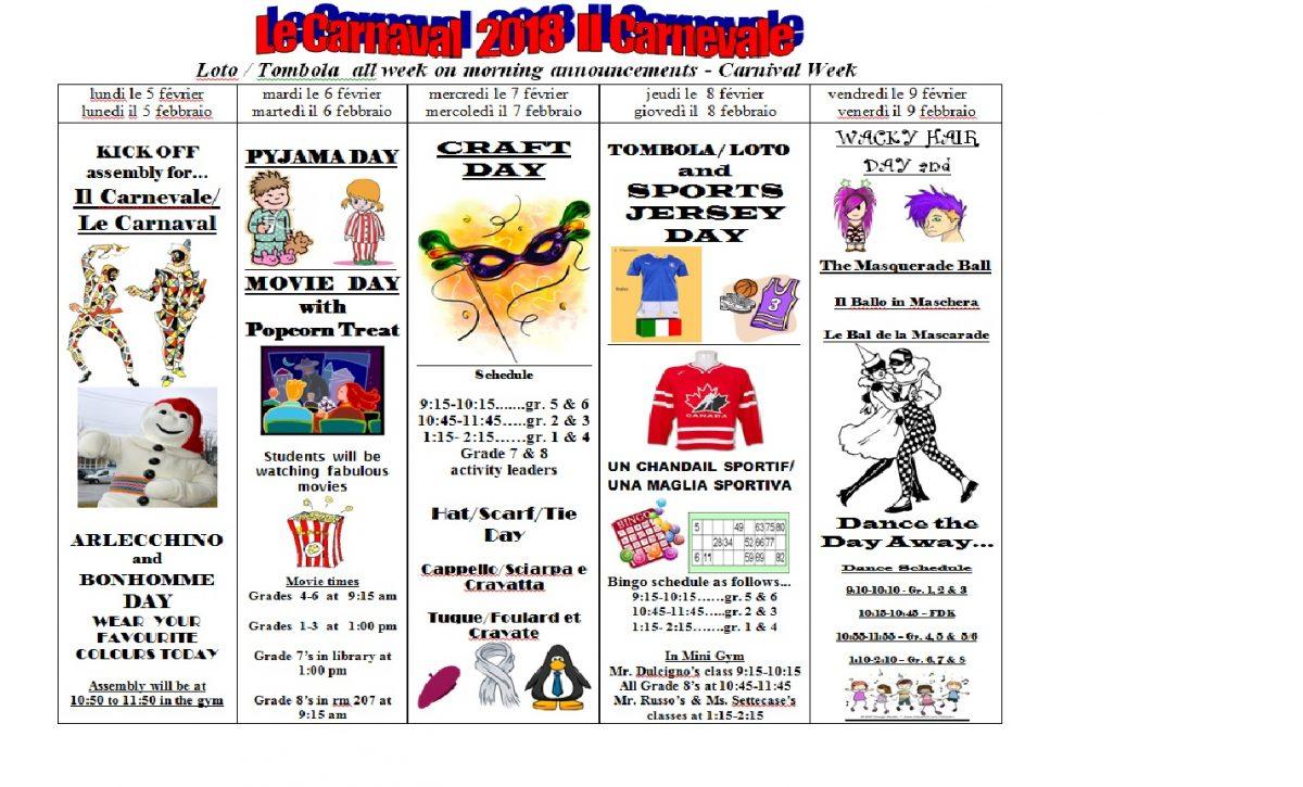 Carnaval & Carnevale 2018 Schedule